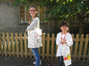 Alice and Sally with their bags