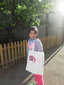 Anna with her bag.