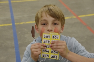 Tom celebrates winning the egg and spoon race :)