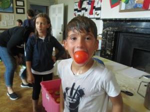 Freddy got the bonus tomato!