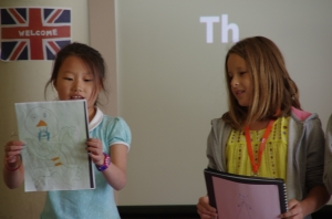 Eva and Martina giving their presentation about their monsters.