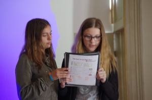 Giulia and Alice giving their presentations about their media project.