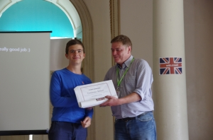 The students all received a certificate and an award. Here's Tommaso and his teacher, Barney.