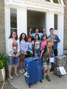 Waving goodbye to our last group of students.