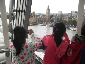 Eleven and Eva taking photos of Big Ben