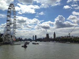 A view of the London Eye and the Houses of Parliament