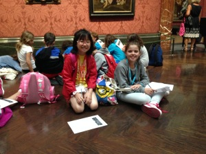 Lisa and Sally in the National Gallery. They are sketching their favourite painting.