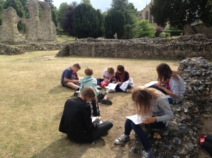 In the Abbey ruins the students did a short drawing activity.