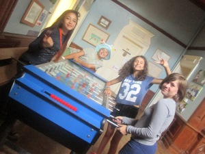 The girls playing table football