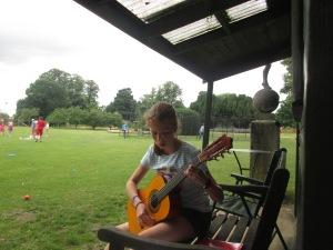 Klara practising for her guitar performance
